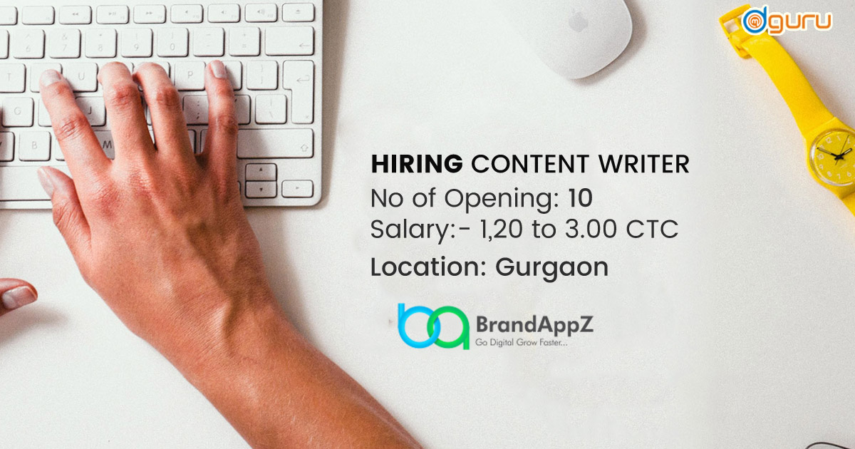 Content Writer Job BrandAppZ Gurgaon India