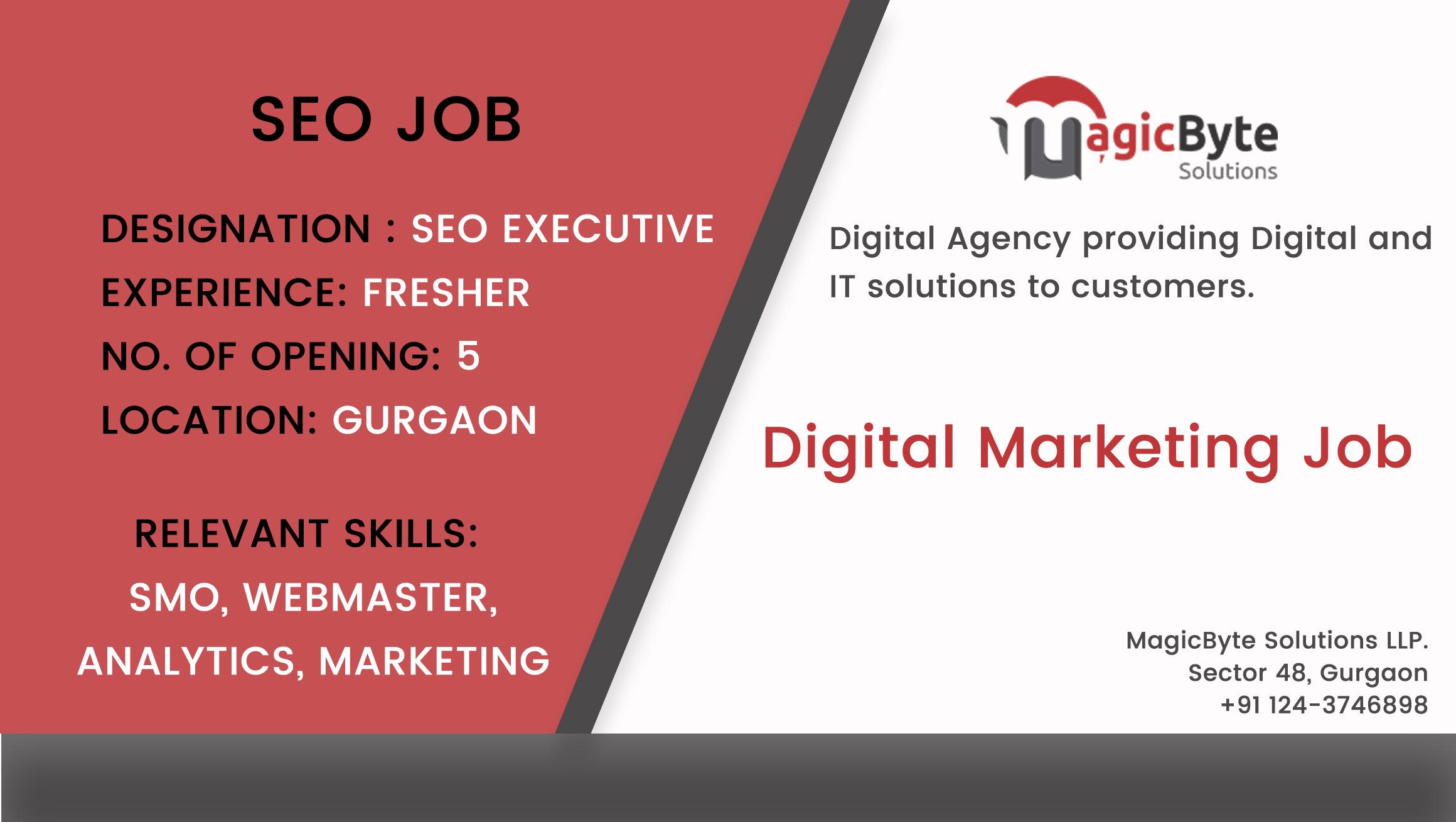 Digital Marketing Job | SEO SMO PPC Vacancy in Gurgaon