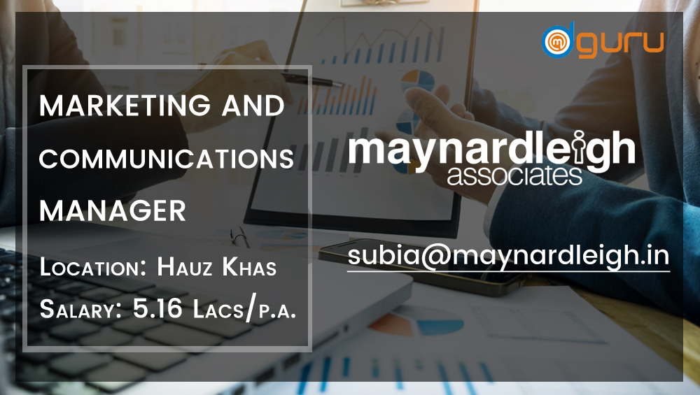 Marketing and Communications Manager Job at Maynard Leigh Associates Gurgaon, India